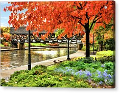 Acrylic Print featuring the painting Covered Bridge Along Riverwalk by Christopher Arndt