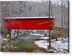 Covered Bridge Along The Wissahickon Creek Acrylic Print by Bill Cannon