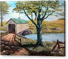 Covered Bridge, Americana, Folk Art Acrylic Print by Lee Piper