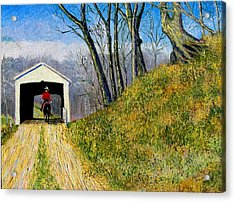 Covered Bridge And Cowboy Acrylic Print by Stan Hamilton