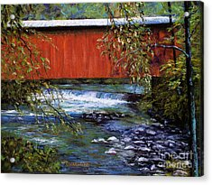 Covered Bridge And  Wissahickon Creek Acrylic Print by Joyce A Guariglia