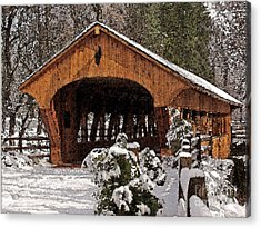 Covered Bridge At Olmsted Falls-winter-2 Acrylic Print