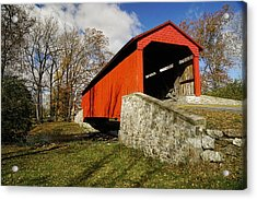 Covered Bridge At Poole Forge Acrylic Print by William Jobes