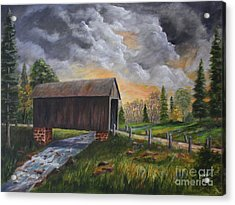 Covered Bridge At Sunset Acrylic Print by Marlene Kinser Bell