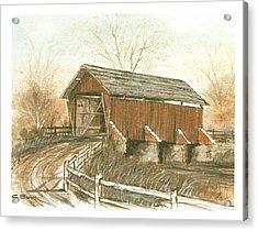 Covered Bridge Acrylic Print by Charles Roy Smith