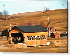 Covered Bridge In Amish Country Ohio Acrylic Print by Dan Sproul