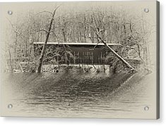 Covered Bridge In Black And White Acrylic Print by Bill Cannon