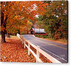 Covered Bridge In Brattleboro Vt Acrylic Print