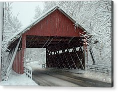 Covered Bridge In Snow Acrylic Print by Don Mennig