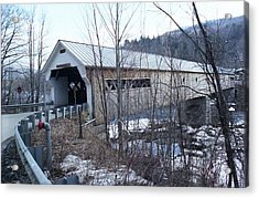 Covered Bridge In Southern Vermont Acrylic Print by John Power