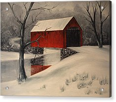 Covered Bridge In The Snow Acrylic Print by Rosie Phillips