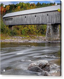 Covered Bridge In Vermont With Fall Foliage Acrylic Print