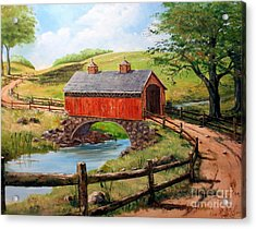 Covered Bridge Country Farm Folk Art Landscape Acrylic Print by Lee Piper