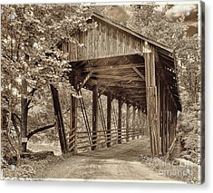 Covered Bridge  Sepia Tone Acrylic Print by Mindy Sommers