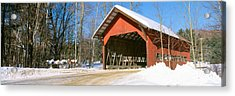 Covered Bridge, Stowe, Winter, Vermont Acrylic Print by Panoramic Images