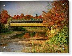 Covered Bridge Vermont Autumn Acrylic Print by Deborah Benoit