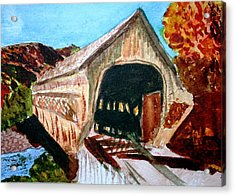 Acrylic Print featuring the painting Covered Bridge Woodstock Vt by Donna Walsh