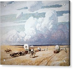 Covered Wagons Heading West Acrylic Print by Newell Convers Wyeth