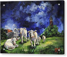 Cow College Auburn University Acrylic Print by Carole Foret