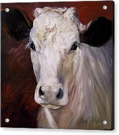 Cow Painting Of Charlene Acrylic Print by Cheri Wollenberg
