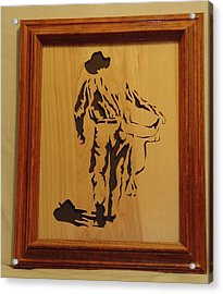 Cowboy And Saddle Acrylic Print by Russell Ellingsworth