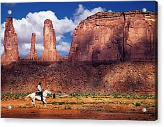 Acrylic Print featuring the photograph Cowboy And Three Sisters by William Lee