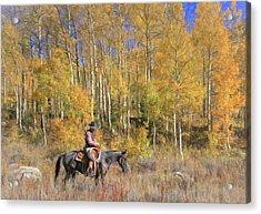Cowboy At Work Acrylic Print