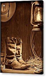 Cowboy Boots At The Ranch Acrylic Print