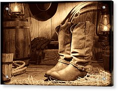 Cowboy Boots In A Ranch Barn Acrylic Print