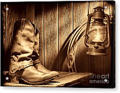 Cowboy Boots In Old Barn Acrylic Print
