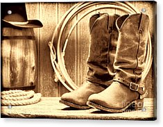 Cowboy Boots On The Deck Acrylic Print