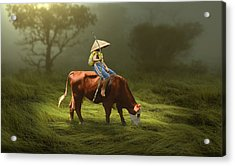 Acrylic Print featuring the mixed media Cowboy Cow Boy by Marvin Blaine