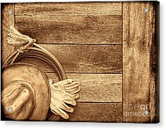 Cowboy Gear On The Floor Acrylic Print by American West Legend By Olivier Le Queinec