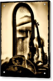 Cowboy Hat And Fiddle Acrylic Print by Bill Cannon