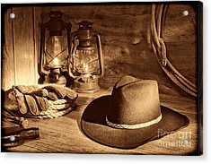 Cowboy Hat And Kerosene Lanterns Acrylic Print