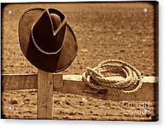Cowboy Hat And Rope On A Fence Acrylic Print