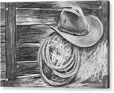 Cowboy Hat In A Barn Acrylic Print by Nolan Clark