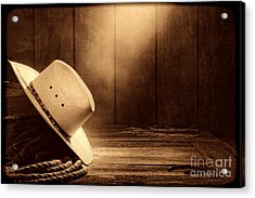 Cowboy Hat In The Old Barn Acrylic Print