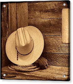 Cowboy Hat In Town Acrylic Print