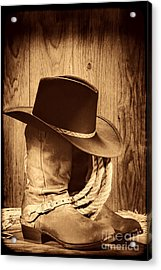 Cowboy Hat On Boots Acrylic Print