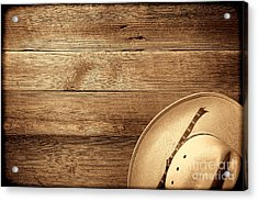 Cowboy Hat On Wood Table Acrylic Print