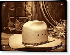 Cowboy Hat With Western Boots Acrylic Print