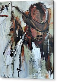 Acrylic Print featuring the painting Cowboy II by Cher Devereaux