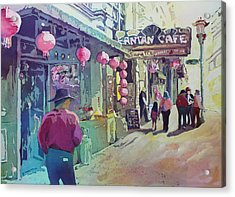 Cowboy In Chinatown Acrylic Print by Jenny Armitage