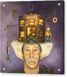 Cowboy Karl Acrylic Print by Leah Saulnier The Painting Maniac