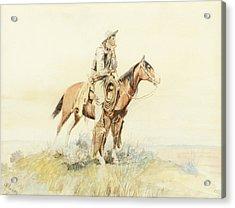 Cowboy On Horseback Acrylic Print by Celestial Images