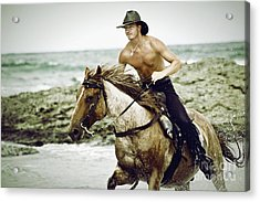 Cowboy Riding Horse On The Beach Acrylic Print