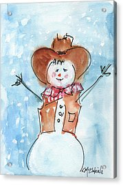 Cowboy Snowman Watercolor Painting By Kmcelwaine Acrylic Print