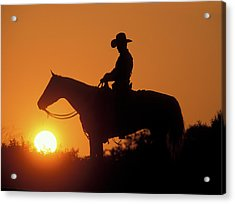 Cowboy Sunset Silhouette Acrylic Print