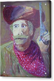Acrylic Print featuring the painting Cowboy With A Gun by Swabby Soileau